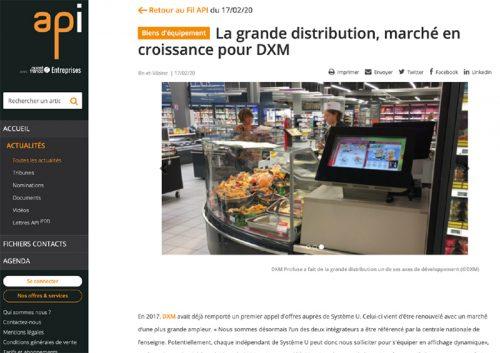 Capture d'écran de l'article publié sur le site de l'API Agence Ouest France sur Dxm Profuse et son activité sur le marché des GMS