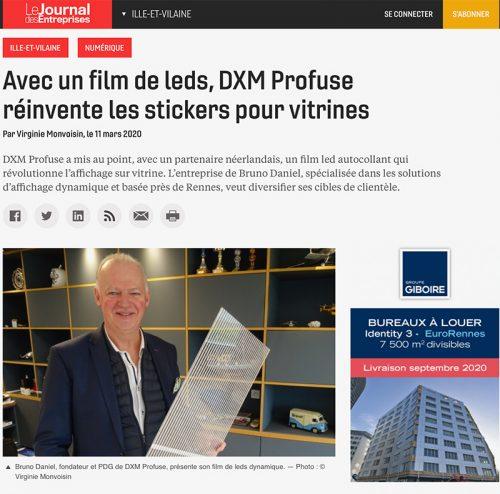 Capture écran de l'article du journal des entreprise consacré à la nouvelle innovation DXM Profuse : le film LED transparent autocollant