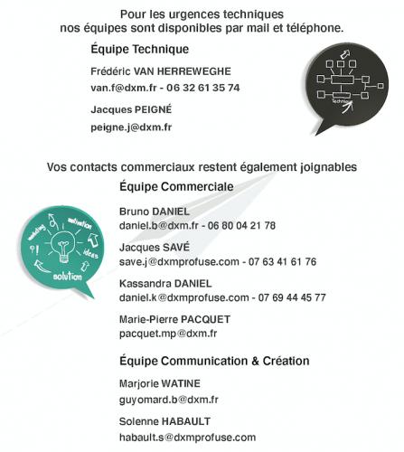Vo contacts DXM Profuse restent disponibles pendant cette période exceptionnelle due au Coronavirus.